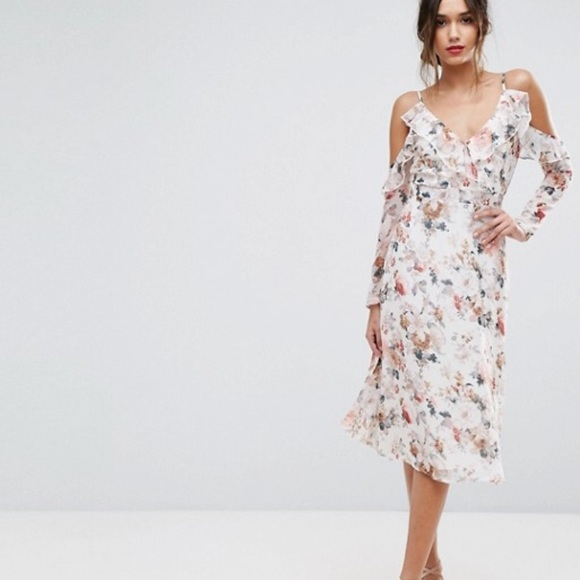 12edab7c5438f ASOS Dresses | Boohoo Floral Cold Shoulder Midi Dress | Poshmark